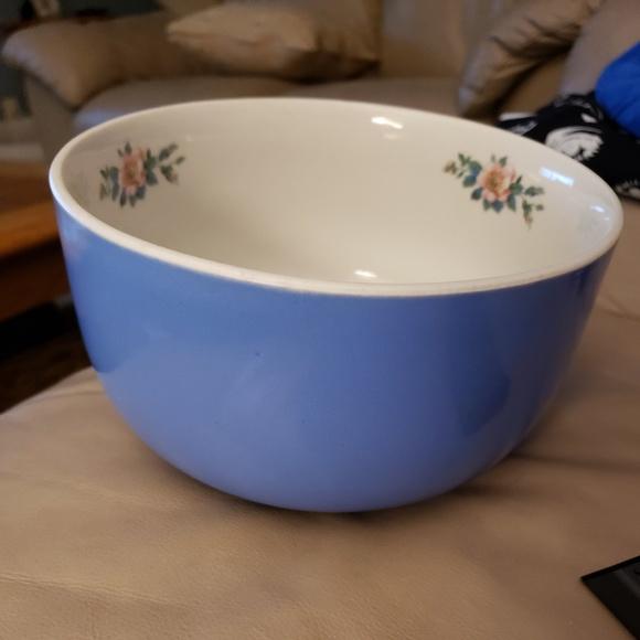 lidded blue bowl Halls pottery Rose parade